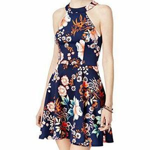 Blue Floral Strappy Back Halter Dress